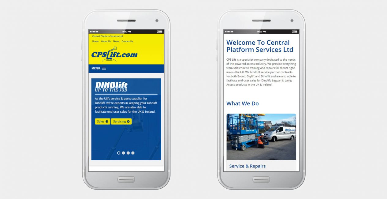 A smartphone displaying the Central Platform Services website designed by Green Route Media.