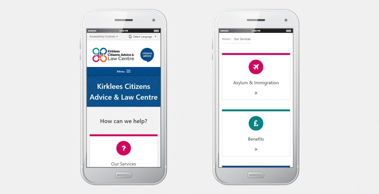 A smartphone view of the website we designed for KCALC.