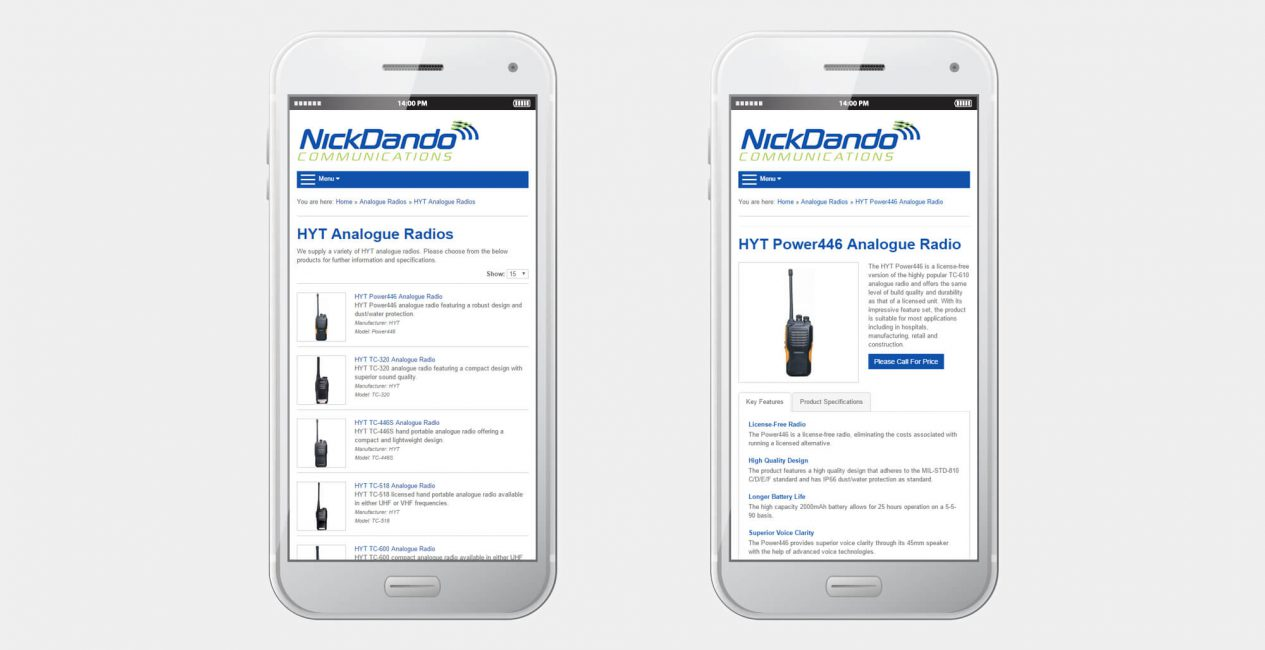 A smartphone displaying the Nick Dando Communications website designed by Green Route Media.