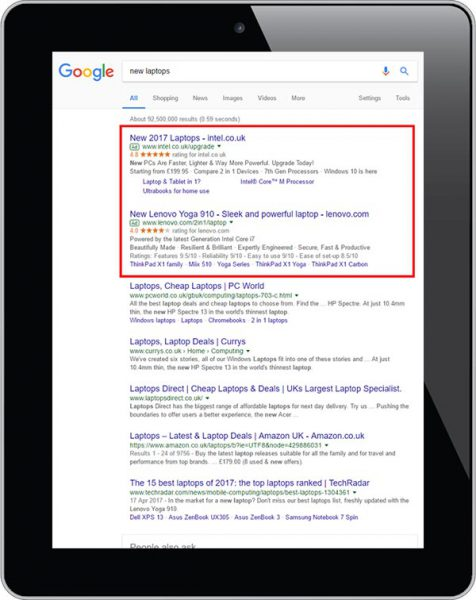 A sample of Google PPC adverts.