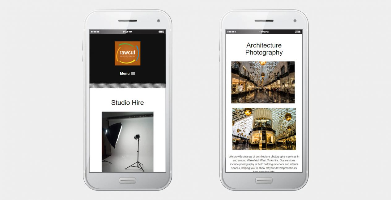 A smartphone displaying the rawcut photography website designed by Green Route Media.