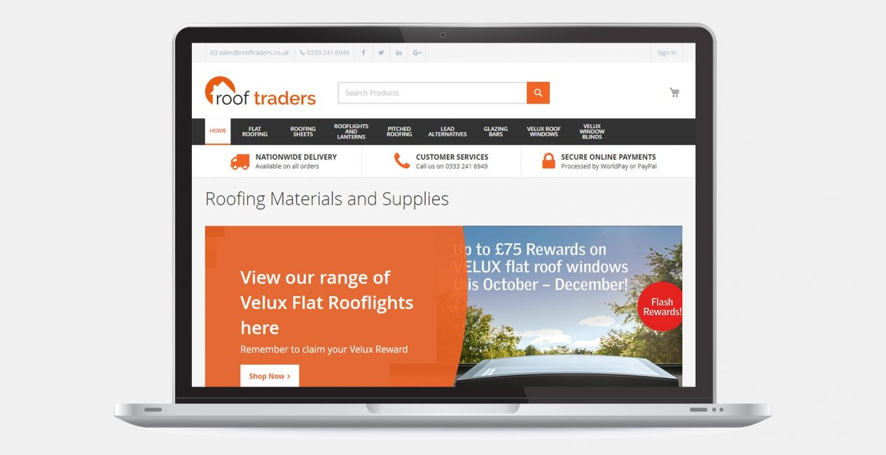 The homepage of the Roof Traders ecommerce website, shown on a laptop screen.