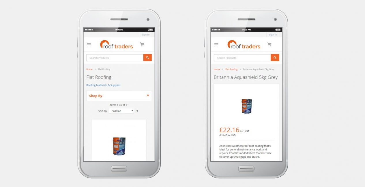 The Roof Traders Magento website shown on a smartphone display.