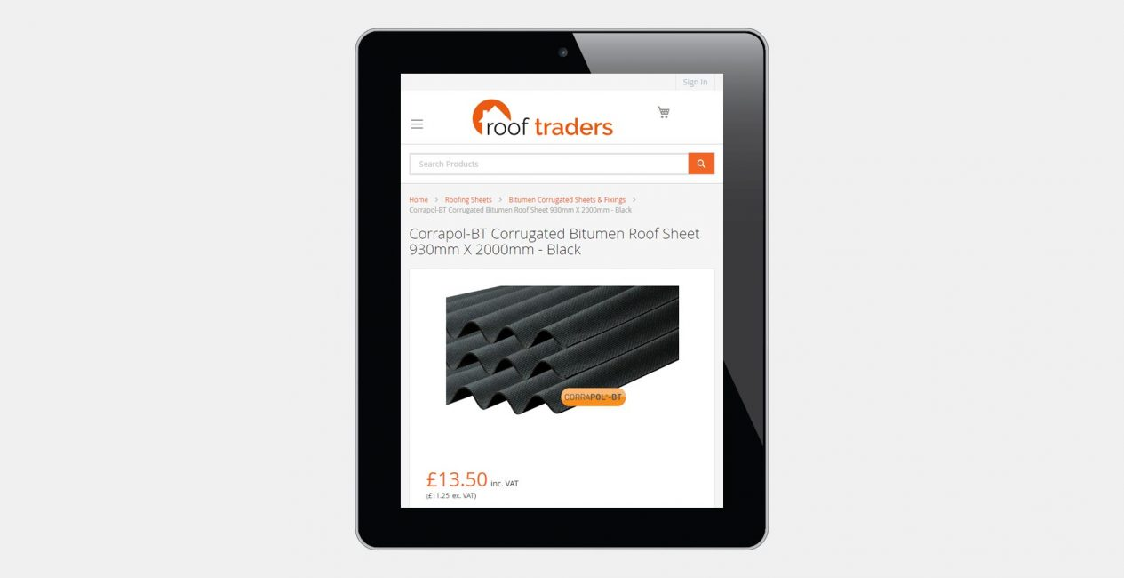 An ecommerce product page shown on a tablet.