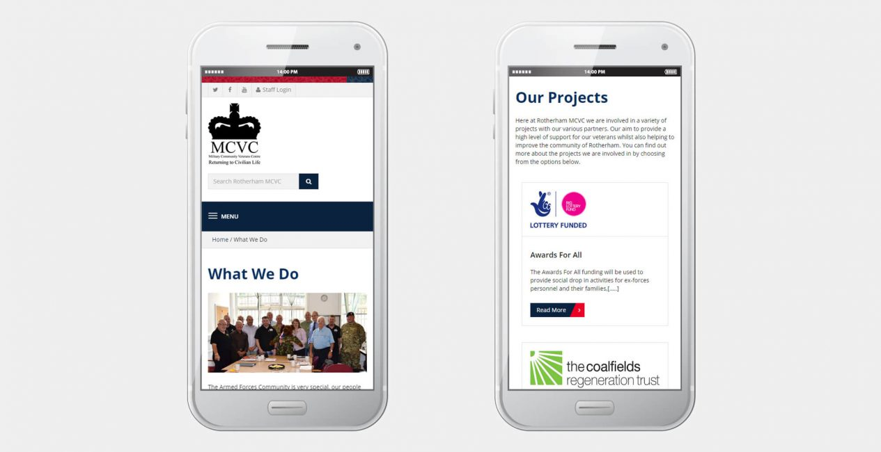 A smartphone displaying the Rotherham MCVC website designed by Green Route Media.