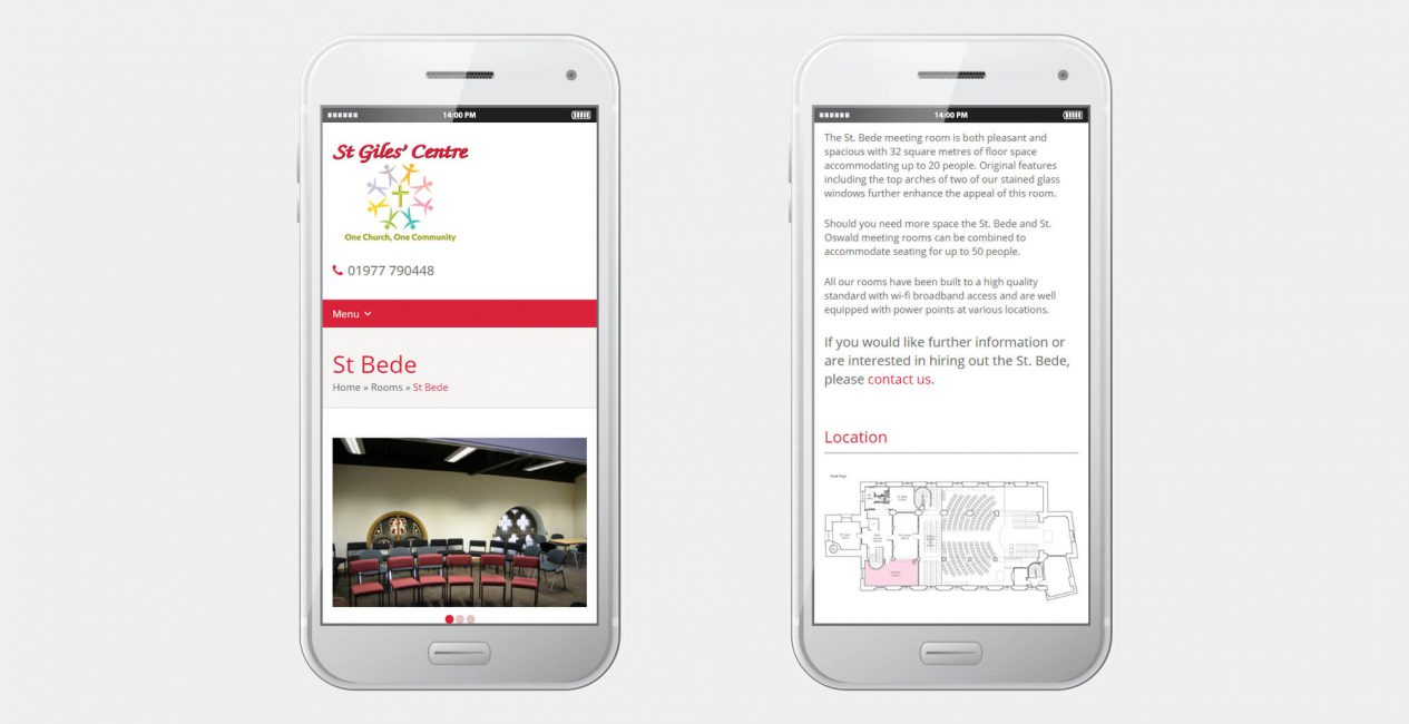 A smartphone displaying the St Giles' Centre Pontefract website designed by Green Route Media.