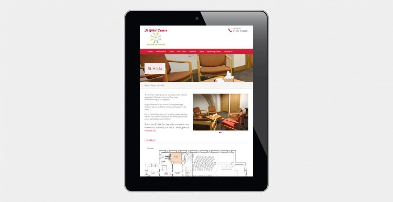 A tablet displaying the St Giles' Centre Pontefract website designed by Green Route Media.