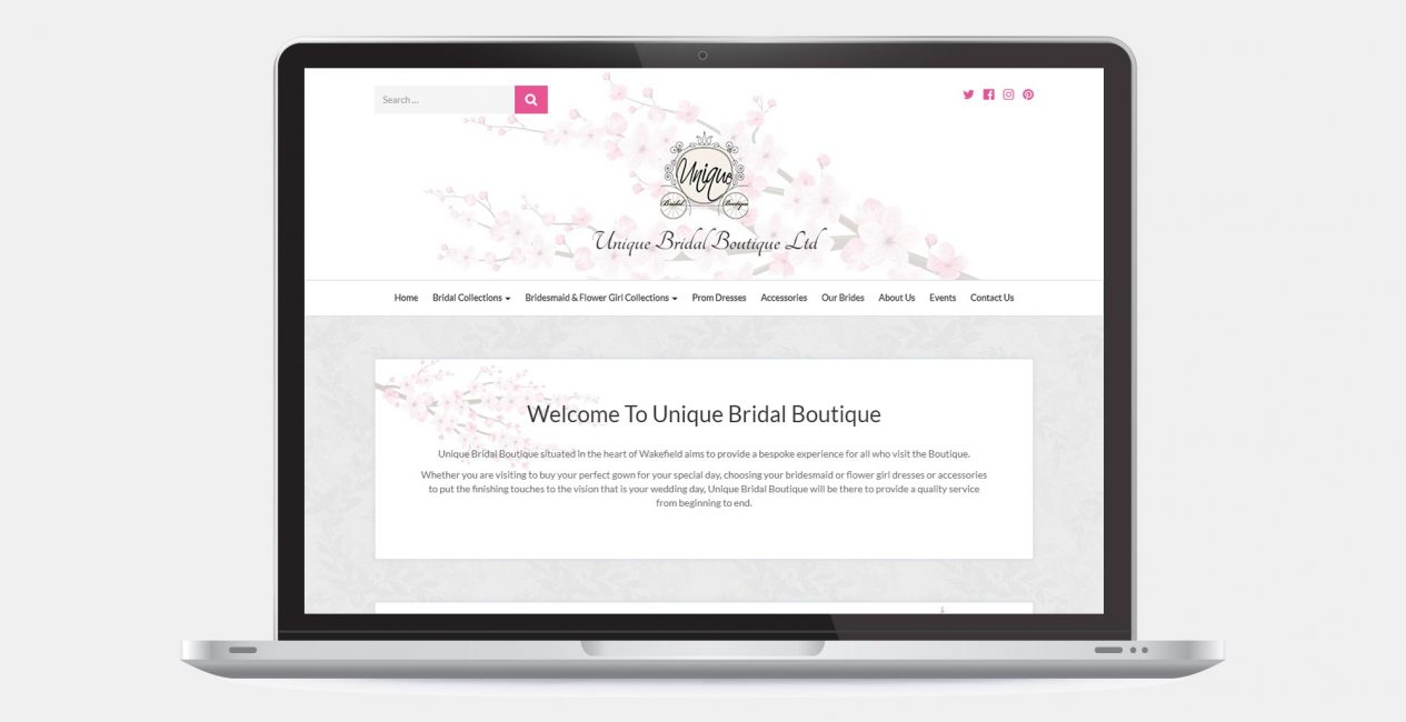 The homepage of the Unique Bridal Boutique website, shown on a laptop screen.