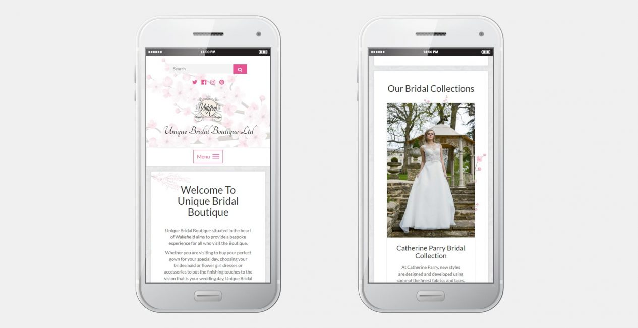 The Unique Bridal Boutique website on a smartphone display.