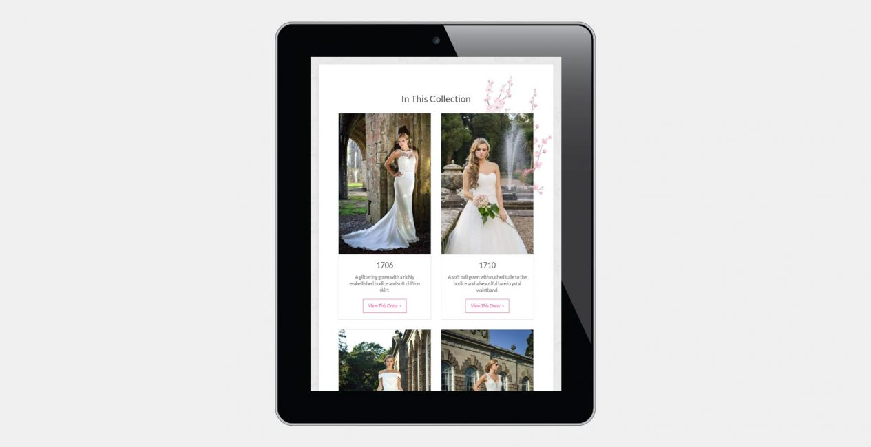 A tablet view of a product page on the Unique Bridal Boutique website.