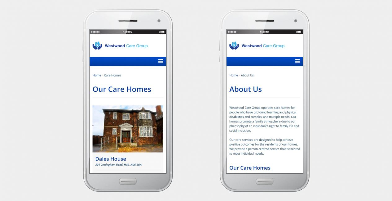 A smartphone displaying the Westwood Care Group website designed by Green Route Media.