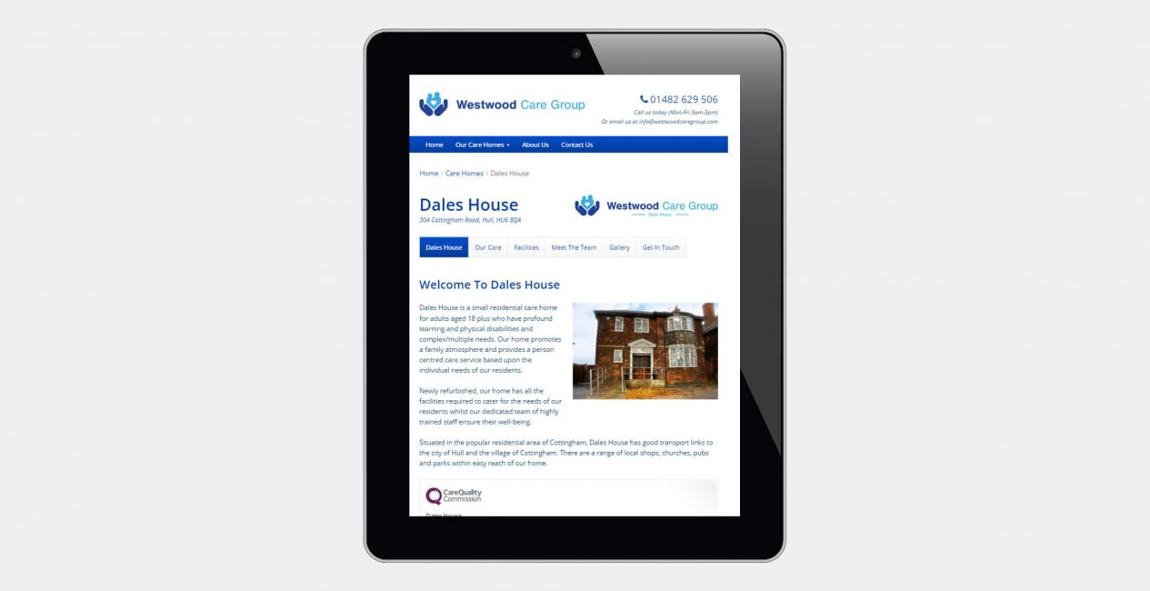 A tablet displaying the Westwood Care Group website designed by Green Route Media.